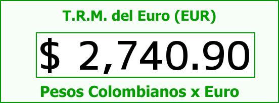 T.R.M. del Euro para hoy Domingo 18 de Enero de 2015