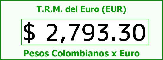 T.R.M. del Euro para hoy Domingo 22 de Marzo de 2015