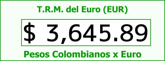 T.R.M. del Euro para hoy Domingo 24 de Enero de 2016