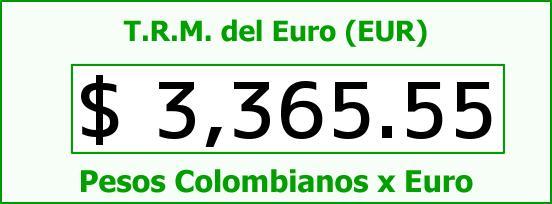 T.R.M. del Euro para hoy Domingo 8 de Mayo de 2016
