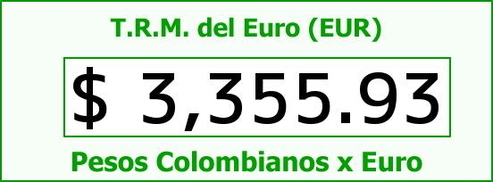 T.R.M. del Euro para hoy Jueves 28 de Julio de 2016