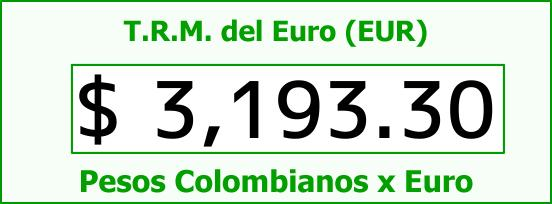 T.R.M. del Euro para hoy Jueves 31 de Agosto de 2017