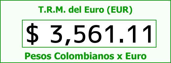 T.R.M. del Euro para hoy Lunes 11 de Enero de 2016