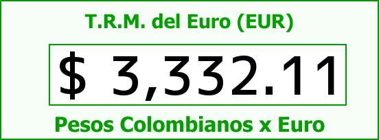 T.R.M. del Euro para hoy Lunes 13 de Junio de 2016
