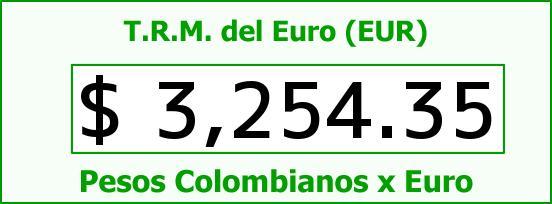 T.R.M. del Euro para hoy Lunes 15 de Agosto de 2016