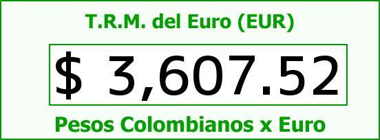 T.R.M. del Euro para hoy Lunes 18 de Enero de 2016