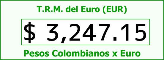 T.R.M. del Euro para hoy Lunes 22 de Agosto de 2016
