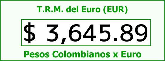 T.R.M. del Euro para hoy Lunes 25 de Enero de 2016