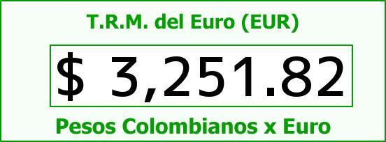 T.R.M. del Euro para hoy Lunes 29 de Agosto de 2016