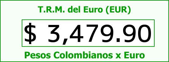 T.R.M. del Euro para hoy Lunes 31 de Agosto de 2015