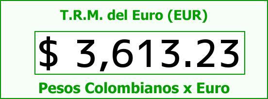 T.R.M. del Euro para hoy Lunes 8 de Agosto de 2016
