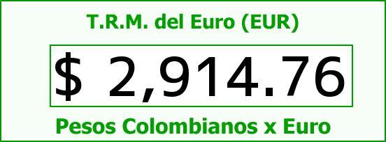 T.R.M. del Euro para hoy Martes 9 de Junio de 2015
