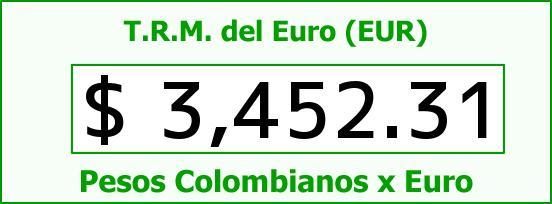 T.R.M. del Euro para hoy Miércoles 3 de Agosto de 2016