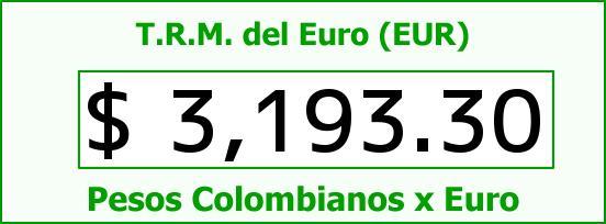T.R.M. del Euro para hoy Sábado 15 de Octubre de 2016