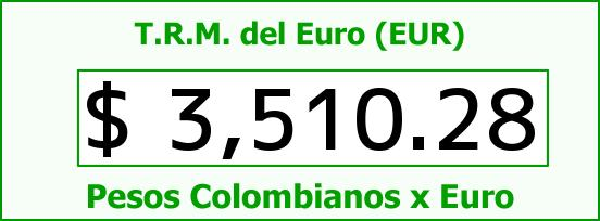 T.R.M. del Euro para hoy Sábado 22 de Agosto de 2015