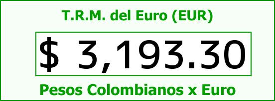 T.R.M. del Euro para hoy Sábado 29 de Octubre de 2016