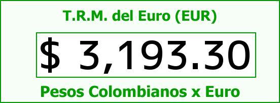 T.R.M. del Euro para hoy Sábado 8 de Julio de 2017