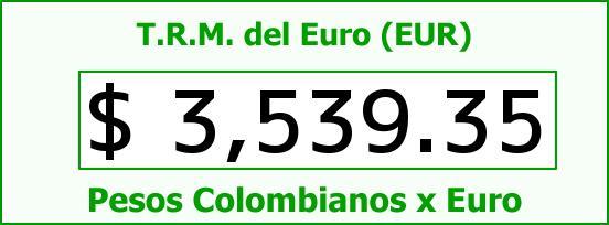 T.R.M. del Euro para hoy Sábado 9 de Abril de 2016