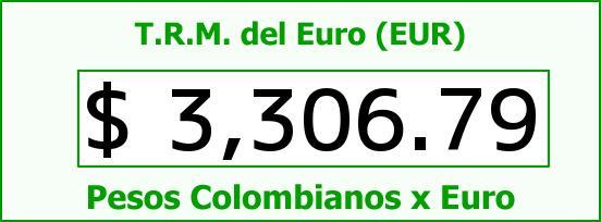 T.R.M. del Euro para hoy Sábado 9 de Julio de 2016