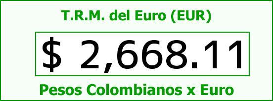T.R.M. del Euro para hoy Viernes 8 de Mayo de 2015
